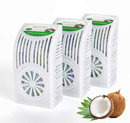 MIAOKE 3 Pack Refrigerator Deodorizer, Fridge and Freezer Odor Eliminator, Outperforms Baking Soda