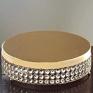 BalsaCircle 15.5-Inch wide Gold Beaded Round Metal Cake Stand - Birthday Party Wedding Display Dessert Pedestal Centerpiece Riser