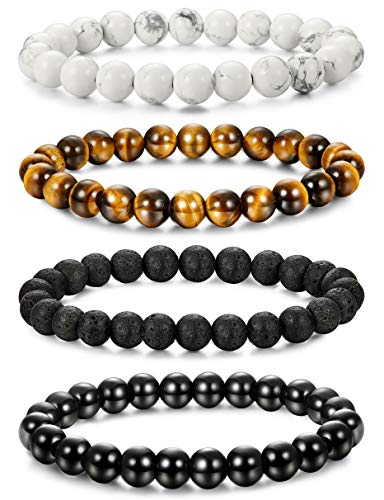 Milacolato 4-6 Pcs Mens Womens Crystal Bracelet Jewelry Natural Stone Yoga Healing Bracelet Beads Adjustable 8MM