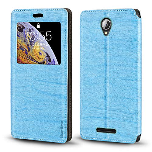 Lenovo A5000 Case, Wood Grain Leather Case with Card Holder and Window, Magnetic Flip Cover for Lenovo A5000