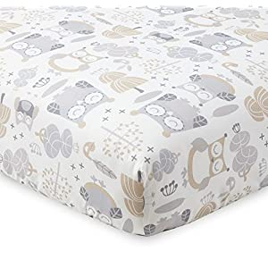 Levtex Baby – Night Owl Crib Fitted Sheet – Fits Standard Crib and Toddler Mattress – Tossed Owls and Trees – Grey, Tan and Cream – Nursery Accessories – 100% Cotton