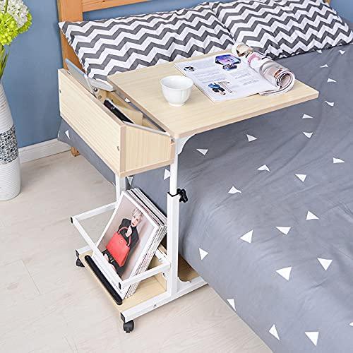 ErZhuiZi Mesa de Centro Ajustable en Forma de C de La Mesa Auxiliar Lateral del Sofá,Escritorio de sobre Cama con Cajón y Ruedas para Sala de Estar con Laptop,Beige-Upgrade