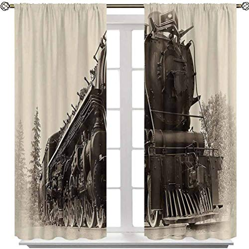 Window Curtains, Antique Northren Express Train Canada Railways Photography Freight Machine Print, 2 Panels 63 Inches Long Rod Pocket Blackout Curtains for Nursery