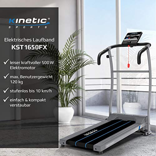 Kinetic Sports KST1650FX Laufband 500 Watt leiser Elektromotor 6 Pogramme, GEH- und Lauftraining, Tablethalterung, stufenlos einstellbar bis 10 km/h, klappbar - 3