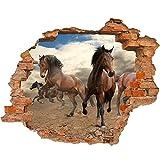 PROXTA Fondos de Foto Adhesivo Vinyl 3D Hoyo en la Pared Mustang de los Caballos Que Corre en Libertad del Desierto del Polvo