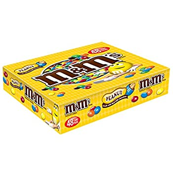 M&M S Peanut Chocolate Candy Singles ,1.74 Ounce  Pack of 48