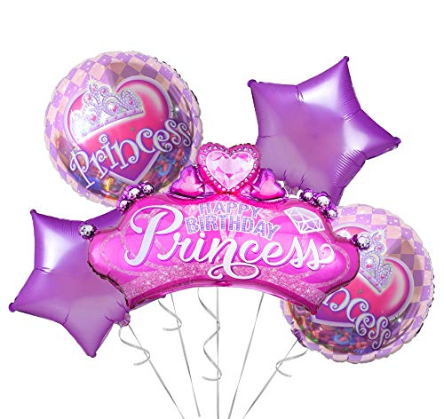 OMG Party Factory - Little Princess Birthday Party Supplies Balloons for Girls | Perfect Addition to Baby Shower or First Bday Decorations in Pink and Purple | Princess Theme Balloon Bouquet Set