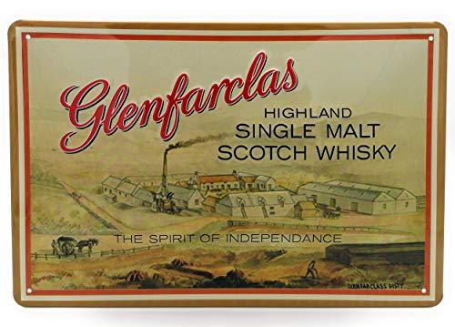 GLENFARCLAS Whisky Barschild, hochwertig geprägtes Retro Blechschild, Werbeschild, Türschild, Wandschild, 30 x 20 cm
