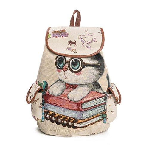 Bolso de las mujeres Lindo gato Impresión Mochila de lona con cordón Bolsa de la compra Bolsa de viaje Bolsa para la escuela LMMVP (39cm×11cm×28cm, C)