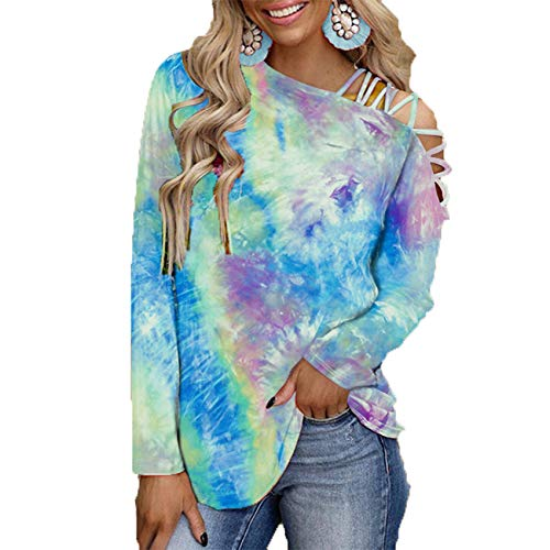 2021 Primavera Y Verano Nueva Camiseta Holgada Informal Sin Tirantes De Manga Larga con Estampado Tie-Dye para Mujer