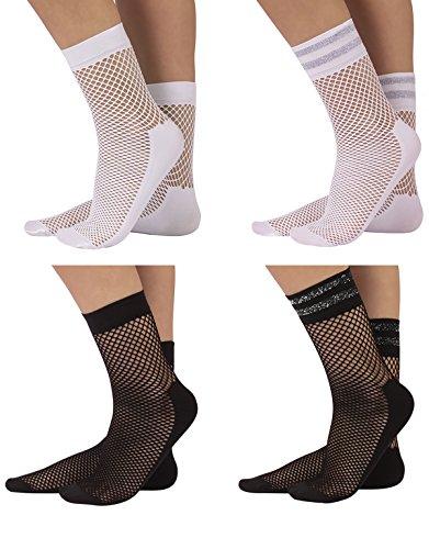 CALZITALY 4 Paar Damen Lurex Netzsocken | Netzstrümpfe mit Komfortsohle und Glitzer Bund | Schwarz, Weiß | Einheitsgröße | Made in Italy