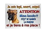 plaque attention chien boxer en métal 29 x 20 cm env réf 51