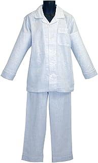 パジャマハウス トップ杢ダブルガーゼ長袖 紳士用 メンズパジャマ ブルー