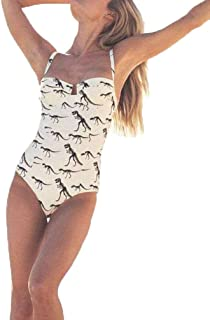 Heartell Women's Fashion Print One-Piece Monokini Sling Backless Underwire Push Up Padded Tummy Control Beachwear