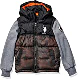 US Polo Association Boys' Toddler Bubble Jacket (More Styles Available), Fleece Sleeves Olive Camo, 4T