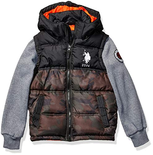 US Polo Association Boys' Big Bubble Jacket (More Styles Available), Fleece Sleeves Olive Camo, 10/12