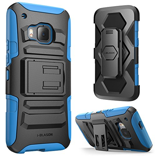 HTC One M9 Case ,i-Blason Prime Kickstand HTC One Hima H9 2015 Release Heavy Duty Dual Layer Combo Holster Cover case with Locking Belt Swivel Clip (Blue)