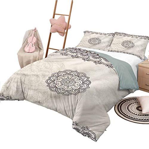 Nomorer Duvet Cover Pattern Full Size Henna Bedding Bag Geometrical Swirls Lines