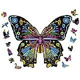 AthlChamp Rompecabezas de Madera, Gran Regalo y Juguete para Adultos y niños, Piezas de Rompecabezas de Formas Irregulares y únicas, 24,7 x 30 cm, 200 Piezas, Mariposa, Mediano
