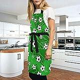 Ahomy Verstellbare Latzschürze mit 2 Taschen, Fußball- und Fußball-Schürze, für Damen, für Grill, Küche, Kochen, Basteln, Backen - 2