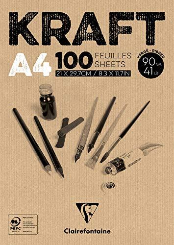 Clairefontaine 96545C Kraftpapier Block (geleimt, ideal für Trockentechniken, 100 Blatt, DIN A4, 21 x 29,7 cm, 90 g) braun