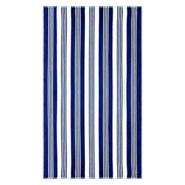 Superior Luxurious 100% Cotton Beach Towels, Oversized 34  x 64 , Soft Velour Cotton and Absorbent Cotton Terry, Thick and Plush Striped Beach Towels - Blue and White Maui Stripes
