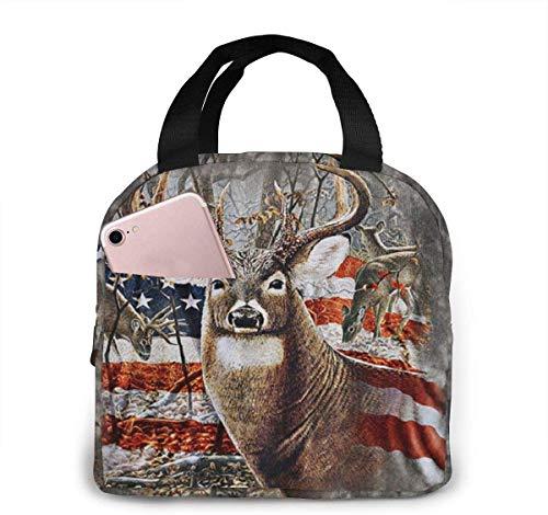 Bolsa de almuerzo de ciervo con bandera americana para mujeres, niñas, niños, bolsa de picnic con aislamiento térmico, bolso grande Bento para preparar comidas, bonita bolsa