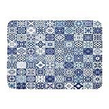 Alfombras de baño Alfombras de baño Alfombrilla para puerta interior / exterior Indigo Patchwork floral Azulejos mediterráneos marroquíes Adornos de mosaico tribal para patrón Azulejo azul blanco Deco
