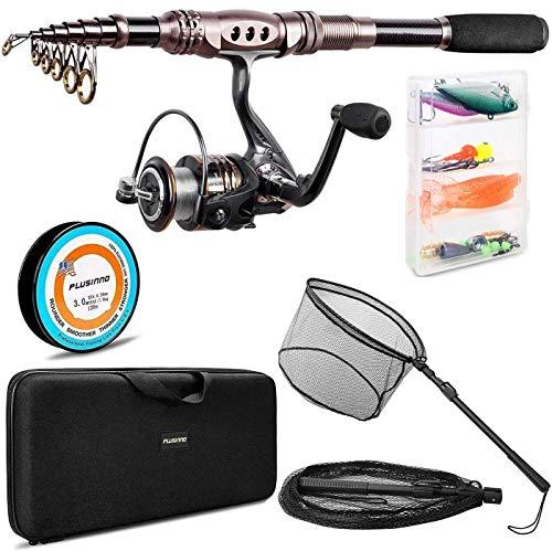 PLUSINNO Fishing Rod and Reel Combos, Fishing Landing Net,Saltwater Freshwater Resistant Fishing Gear
