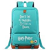 NYLY Harry Potter College Mochila señoras Escuela de Moda Estudiante Bolso niños Deportes Viaje Impermeable Lona Mochila Unisex Teal