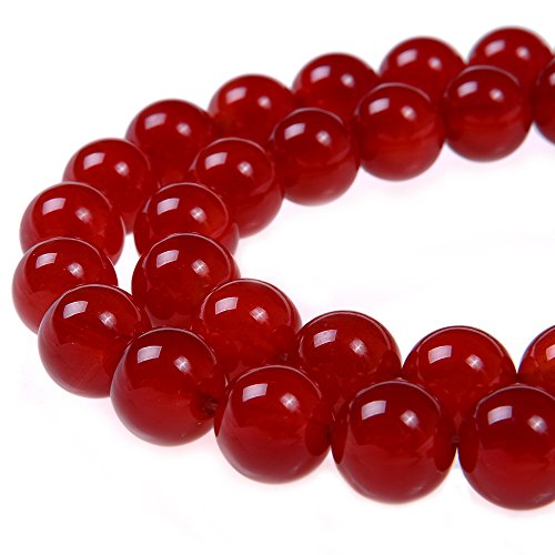 PLTbeads 8mm Red Carnelian Smooth Round Shape Natural Gemstone Loose Beads for 1 Strand per Bag Approxi 15.5 inch 48-50pcsJewelry Making
