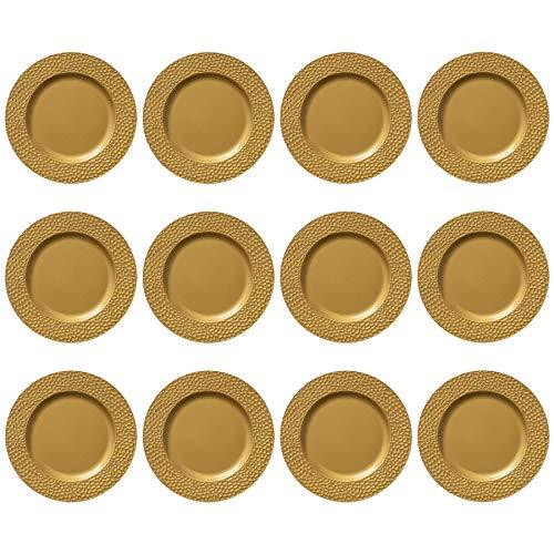 Argon Tableware Platzteller - rund - gehämmerte Optik - Goldfarben - 330 mm - 12 Stück