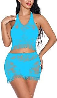 iQKA Fashion Women Sexy Lace Lingerie Sets Sleepwear Babydoll Halter Fishnet Fringe Suit Nightwear Underwear