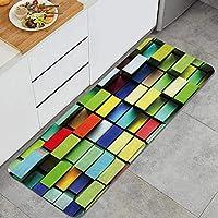 ECOMAOMI キッチンマット 洗える 45*120cm カラー3Dグリッドカラーアートモザイク キッチンマット 滑り止め 柔らかく おしゃれ 台所 マット お手入れ簡単