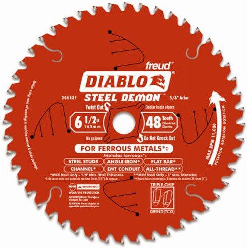 Freud Diablo D0648F 6-1/2' x 48-Tooth Steel Demon TCG Ferrous Cutting Circular Saw Blade 5/8' Arbor