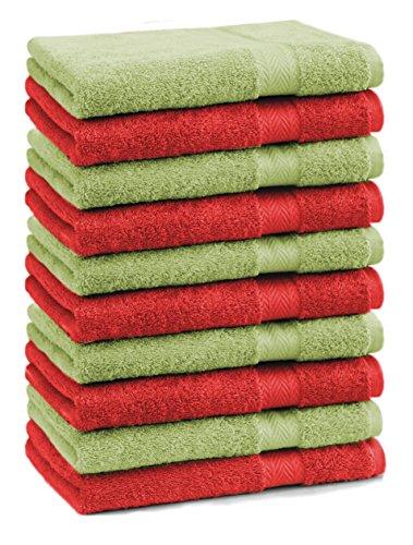 Betz Lot de 10 Serviettes débarbouillettes lavettes Taille 30x30 cm 100% Coton Premium Couleur Rouge et Vert Pomme