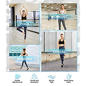 FETY Women's High Waist Leggings Full-Length Yoga Pants with Pockets, Tummy Control Workout 4 Way Stretch Pants for Women