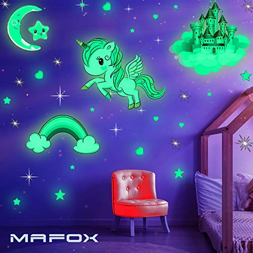 Glow in The Dark Stars Glowing Unicorn Sets with Castle Moon and Rainbow Wall Decals for Kids Bedding Room Great for Birthday Gift Wall Mural Stickers for Girls and Boys