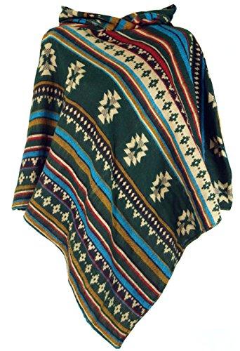 GURU SHOP Inka Poncho mit Kapuze, Goa Hippie Poncho, Damen, Tannengrün, Synthetisch, Size:40, Jacken, Mäntel & Ponchos Alternative Bekleidung