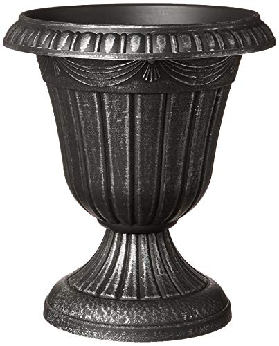 """Arcadia Garden Products PL20SL Classic Traditional Plastic Urn Planter Indoor/Outdoor, 10"""" x 12"""", Brushed Silver"""
