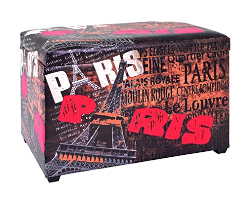 PEGANE Banc-Coffre de Rangement Pliable en MDF, Polyuréthane Motif Paris, Dim : L65 x P40 x H42 cm