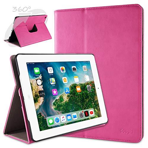 doupi Deluxe Protección Funda para iPad 2 3 4, Smart Sleep/Wake Up función 360 Grados giratoria del Caso del Soporte Bolsa, Rosa