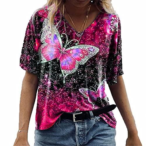 LYAZFC Camiseta de Manga Corta con Estampado de Mariposas para Mujer Primavera y Verano