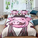 Pink Mr. Pig Printed Cartoon Bedding Cover Sets Grey Hat Bread Pig Pattern Duvet Sets King Cartoon Animals Collections 3 Pieces Comforter Sets(1 Duvet Cover 2 Pillow Cases)