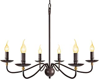 Wrought Iron Dining Room Lighting Fixtures Hanging,Farmhouse Candle Chandelier 6 Lights,Industrial Vintage Chandelier Lighting for Dining Kitchen Living Room Bedroom,4 x E12 Candelabra Socket Base