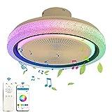 Música Ventilador de techo con luz y mando a distancia LED Lámpara de techo con Altavoz Bluetooth Regulable RGB Cambio de Color Luz de ventilador para InfantilDormitorio Sala de estar cocina
