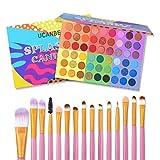 UCANBE Kit de maquillaje de sombra de ojos, 54 colores de paleta de sombra de ojos y 15 pinceles de maquillaje, paleta de maquillaje de ojos mate con brillo 6 en 1 con juego de pinceles