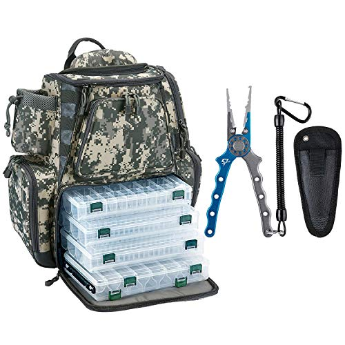 Piscifun Fishing Tackle Backpack with 4 Trays Digital Camouflage Backpack Bundle Aluminum Fishing Pliers Blue & Silver - Split Ring Nose