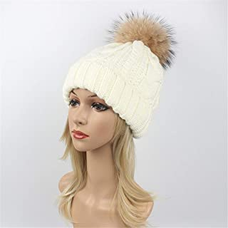 Hat Fashion Daily Slouchy Hats Crimping Hairball Womens Winter Knitting Wool Warm Hat Fashion Accessories (Color : White)