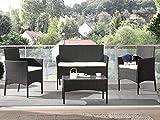 Bestmobilier - Marbella - Salon Bas de Jardin 4 Places - en résine tressée - Noir avec Coussins Beiges